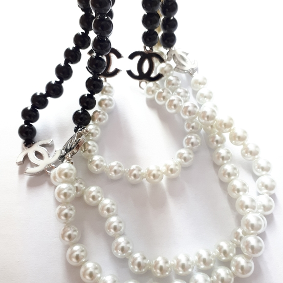 8MM White And Black Pearl Long Necklace